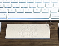 Business Card in Landscape Position on Top of a Desk
