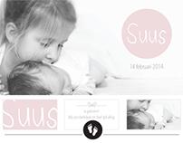 Geboortekaartje Suus