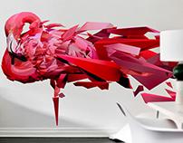 flamenco rosa poligonal