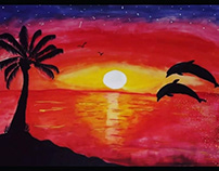 sunset/oil painting