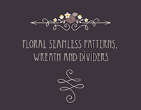 Floral seamless patterns, wreath and dividers