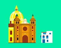 Mapa infográfico de Cartagena (Colombia)
