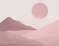 Pink Sunset Digital Illustration