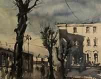 Watercolor/ Saint-Petersburg , Monochrome
