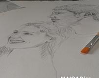 Retratos por encargo. Acrílico y pluma sobre papel .