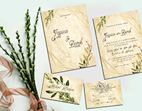 gold greeny wedding invitation set