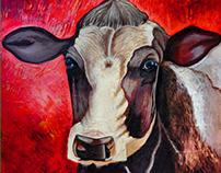 Vaca acrílico y pasta de muro