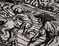 Holbein — Danse Macabre, agriculturist (copy, linocut)