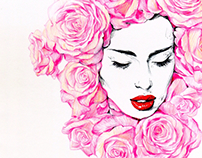 Lady in roses.