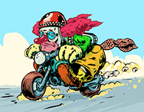 Clown on motorcycle