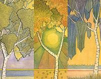 White Birches triptych