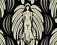 Art Deco Angel Repeating Fabric Pattern