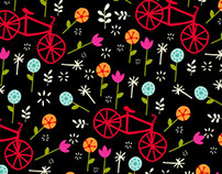 bicyclette's with posies coversational pattern