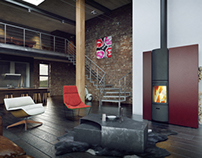 INTERIOR DESIGN WITH A FIREPLACE