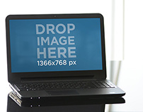 Wide image with laptop on office table