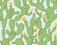 Happy Cactus Pattern