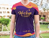 Free V-neck T-Shirt PSD MockUp in 4k