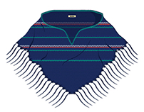 Women's Knitted Tasseled Poncho Cape Vector Template