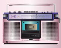 pink radio cassette