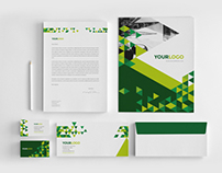 Green Triangles Stationery