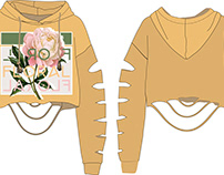 Fashion flat drawing of trendy hooded sweatshirt