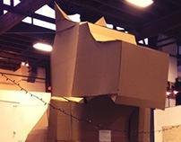 2 story cardboard dog