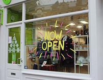 Oxfam window vinyl collaboration