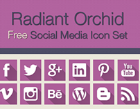 Free Social Media Icon Set in Radiant Orchid Color