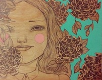 Niña de las flores - Illustration on wood