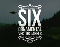 6 Ornamental Vector Labels
