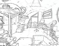 Recherches décors pour l'animation.