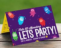 Custom Birthday Invitation Card - Monster Theme