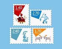 Post stamps - Gdańsk, Poznań, Kraków, Warsaw