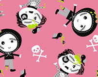 cute zombies on pink novelty pattern