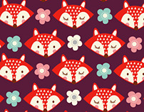 cute foxes and flowers novelty pattern