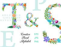 Bright Floral Alphabet