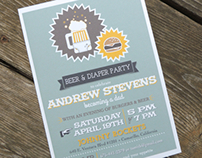 Burgers, Beer & Diaper Party - Dad Shower Invitation