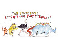 Party animals! (congratulations on your new baby card)