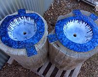 Inset Custom Vessel Sink Set in Blue & White