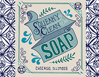 Squeaky Clean Soap hand-lettered packaging design