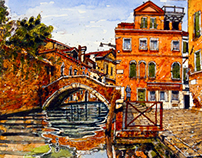 Start to finish Painting of Venice