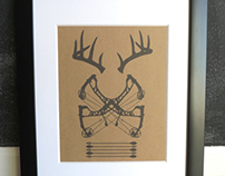 Hunting Emblem Print - Whitetail Deer & Compound Bow