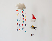 flying boats mobile - sail the clouds with colored rain