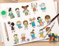 Children in Doodle Style