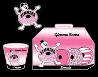 Jimmies Donuts logo, illustration and packaging design