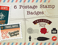 6 Postage Stamp Badges