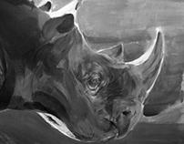 Rhino Gouache Painting