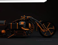 Steampunk chopper black widow Final Render
