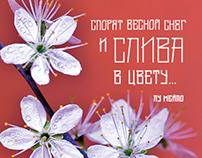 Plum Flower, hair font | Цветок сливы, волосяной шрифт
