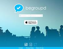Begroupd group messaging app website design